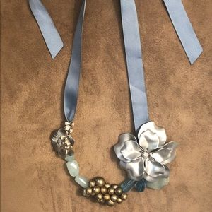 Anthropologie Ribbon Flower Necklace